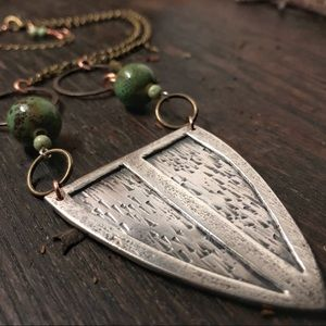 Earth Maiden Sterling Silver Shield Necklace